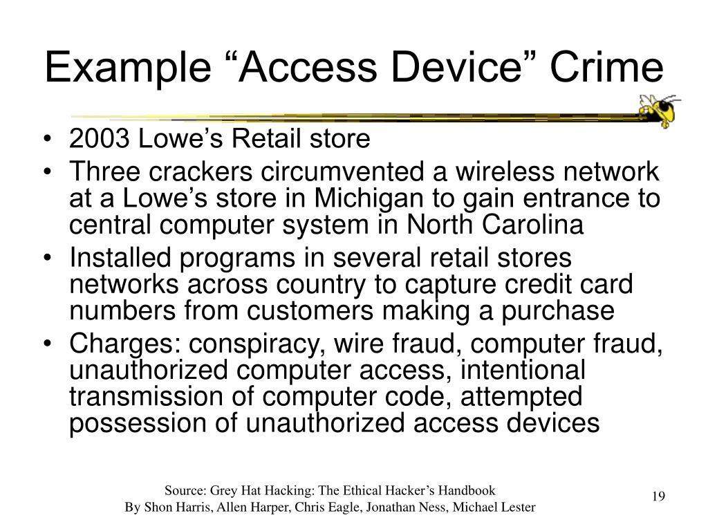 "Example ""Access Device"" Crime"