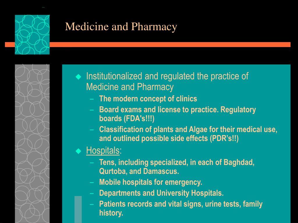 Medicine and Pharmacy