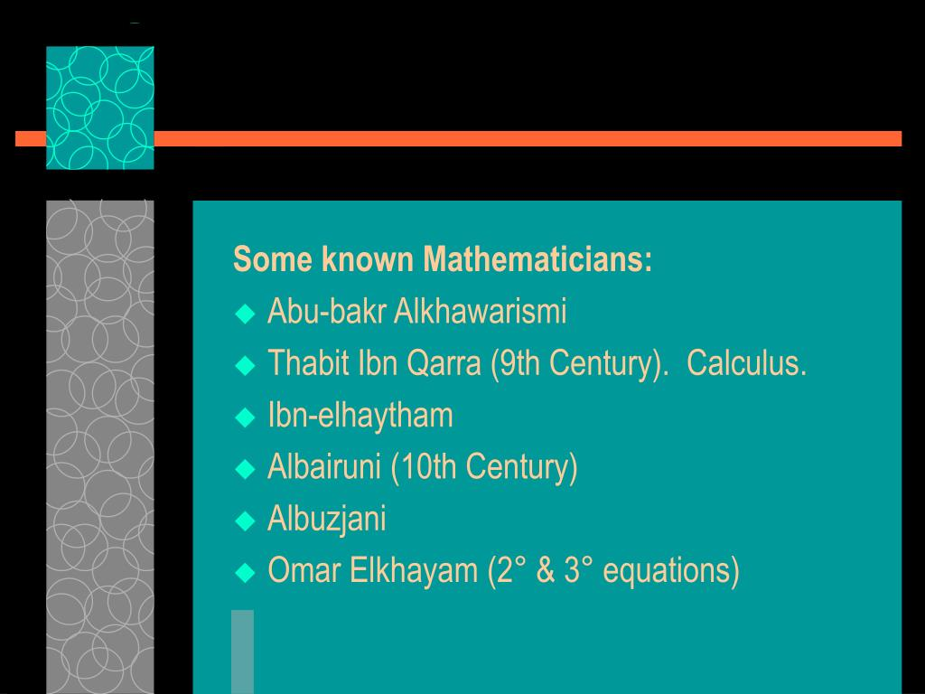 Some known Mathematicians: