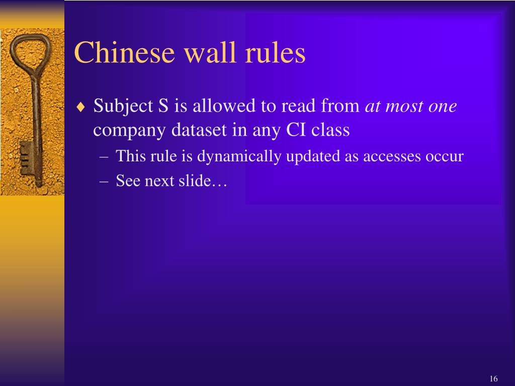 Chinese wall rules