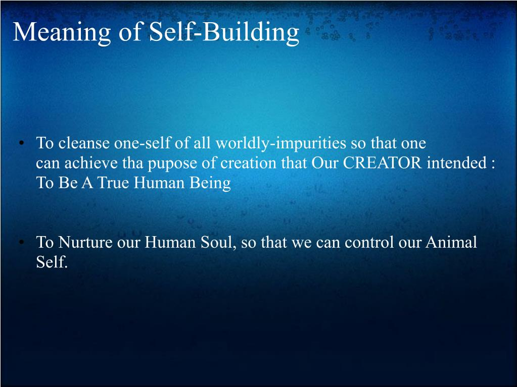 Meaning of Self-Building
