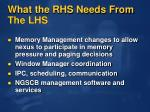 what the rhs needs from the lhs