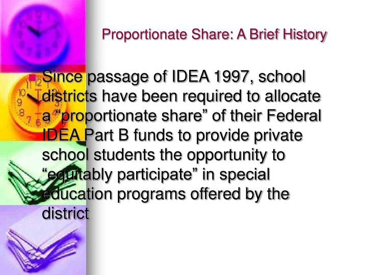 Proportionate share a brief history