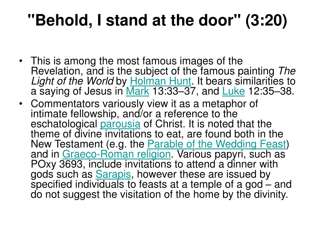 """""""Behold, I stand at the door"""" (3:20)"""