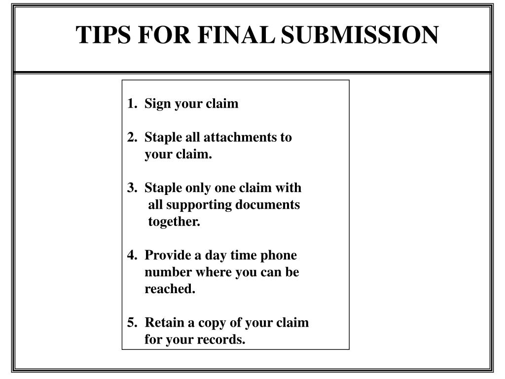 TIPS FOR FINAL SUBMISSION