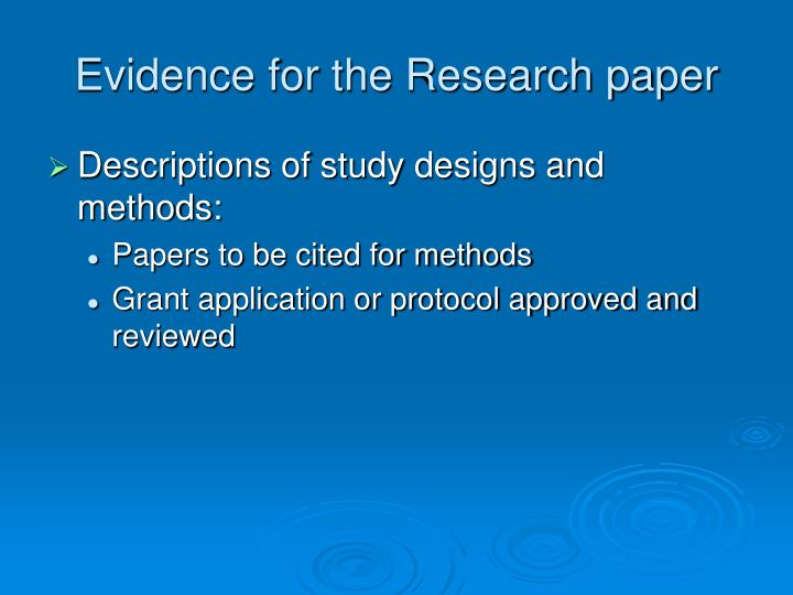 Evidence for the Research paper