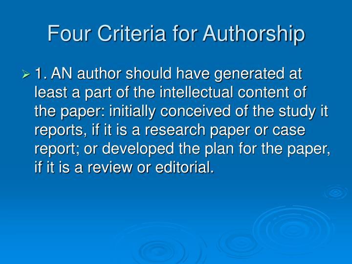 Four Criteria for Authorship