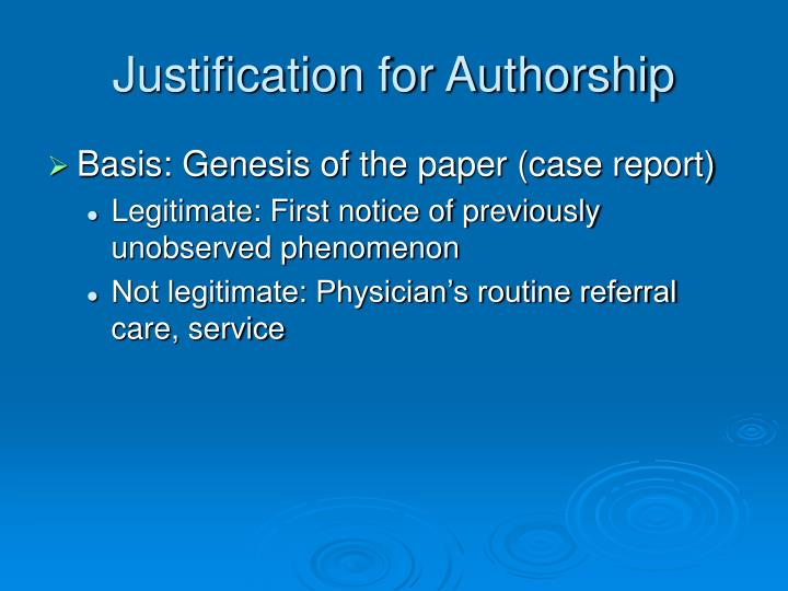 Justification for Authorship
