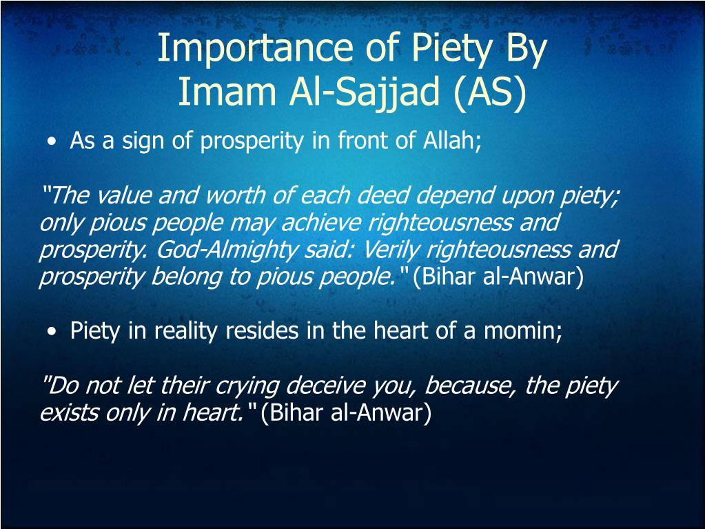 Importance of Piety By