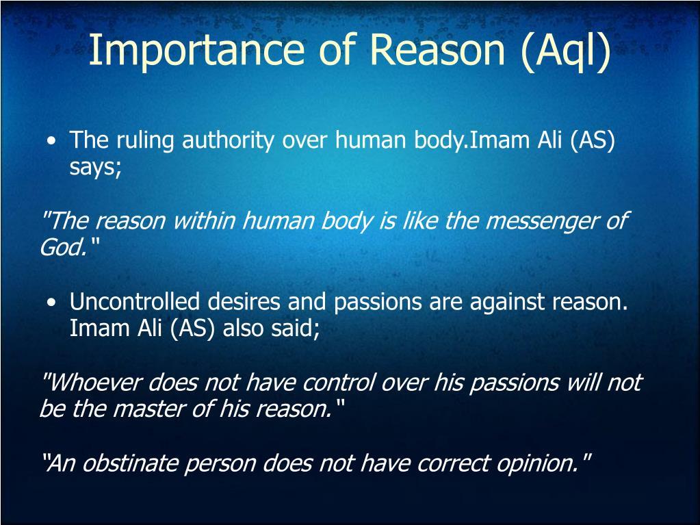 Importance of Reason (Aql)