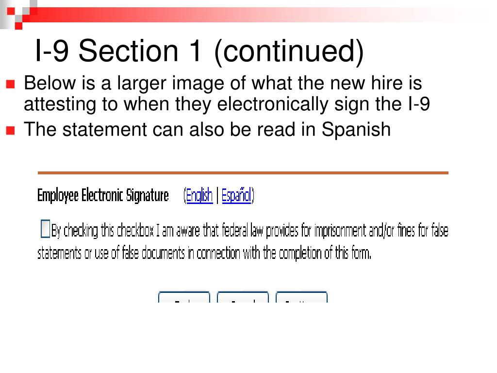I-9 Section 1 (continued)