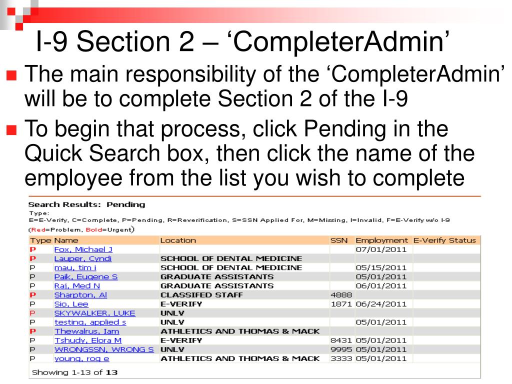 I-9 Section 2 – 'CompleterAdmin'