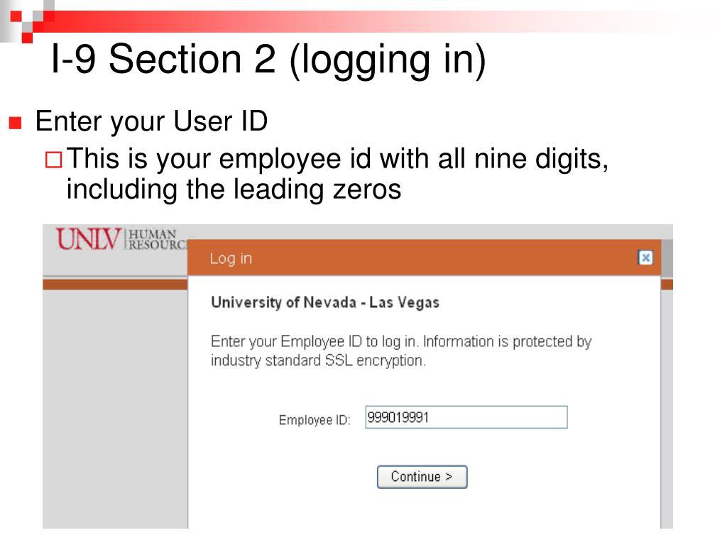 I-9 Section 2 (logging in)