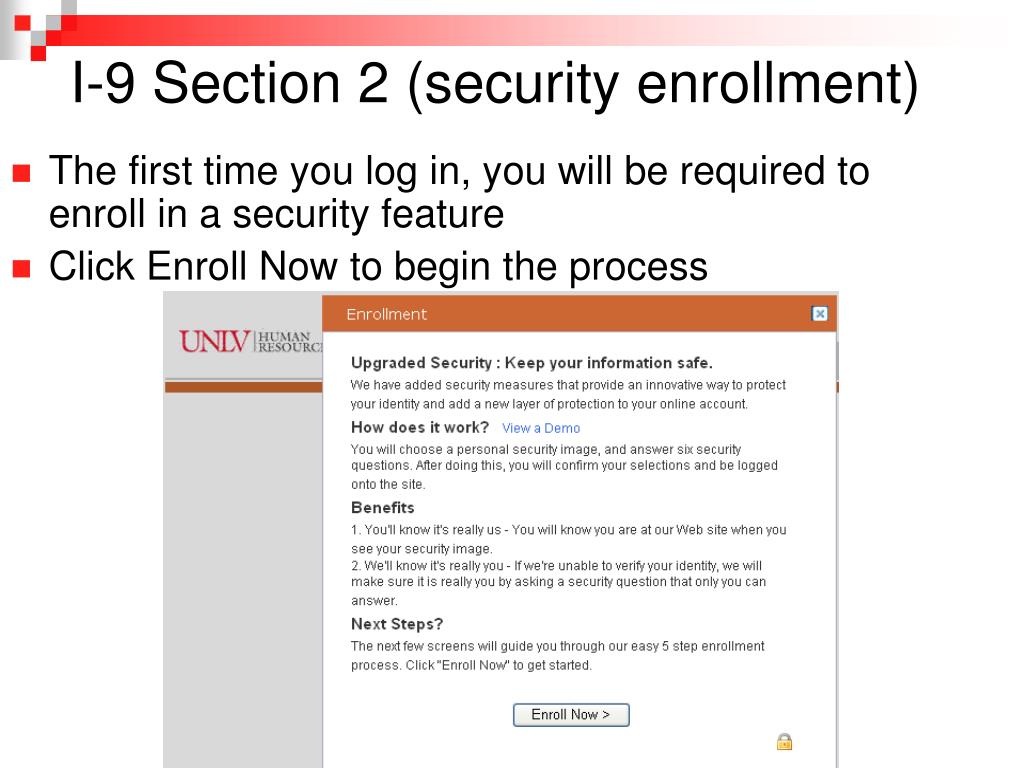 I-9 Section 2 (security enrollment)