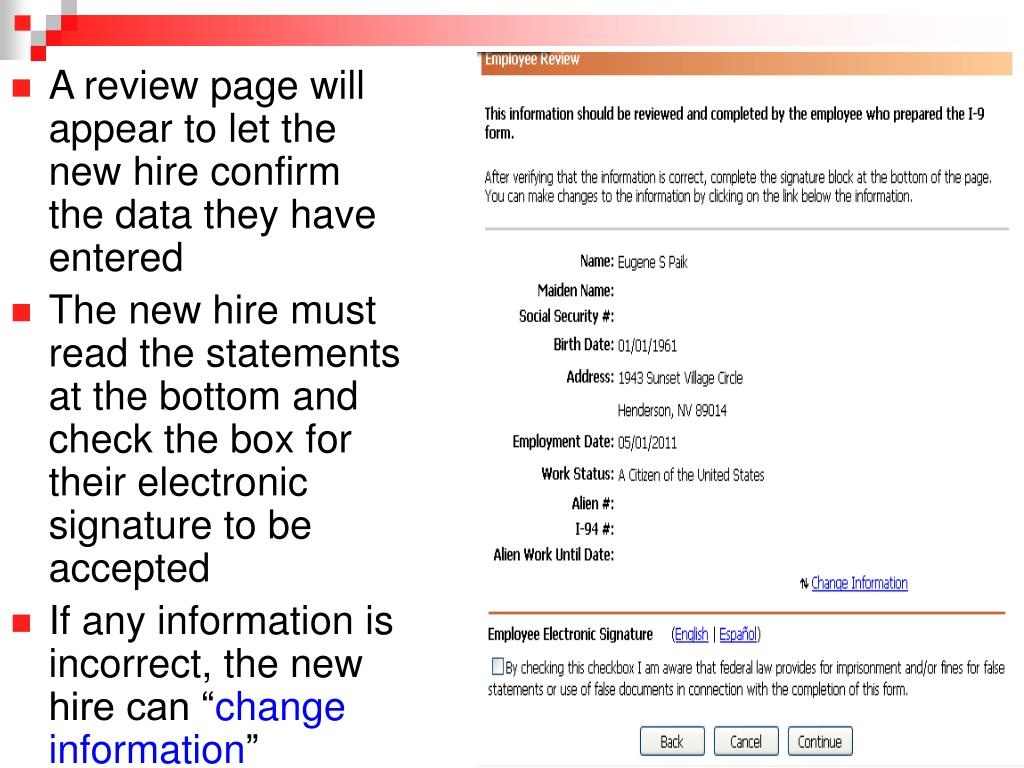 A review page will appear to let the new hire confirm the data they have entered