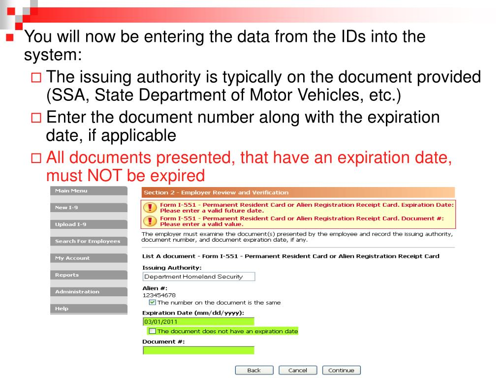 You will now be entering the data from the IDs into the system: