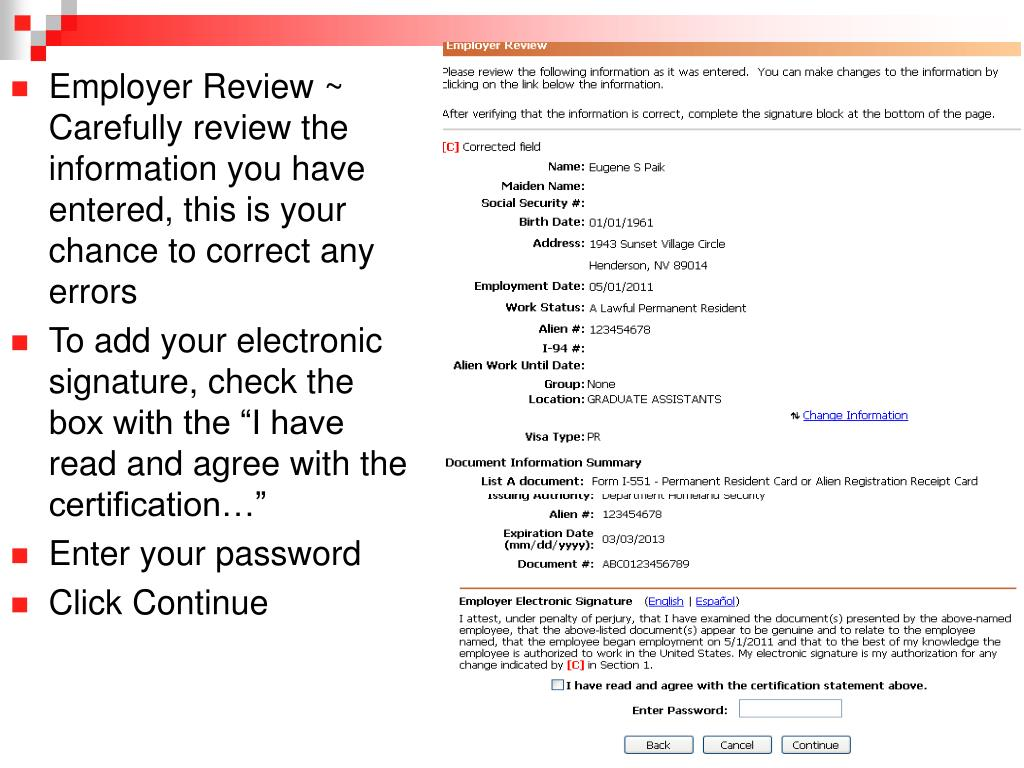 Employer Review ~ Carefully review the information you have entered, this is your chance to correct any errors