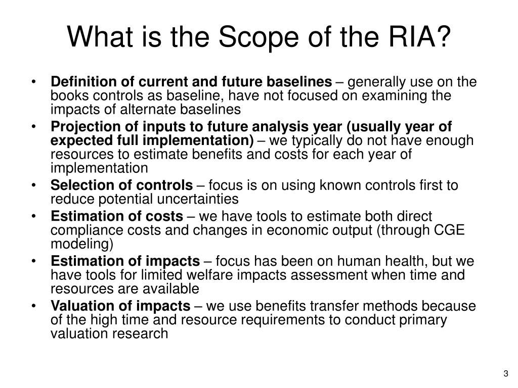 What is the Scope of the RIA?