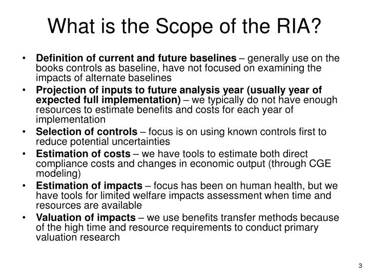What is the scope of the ria