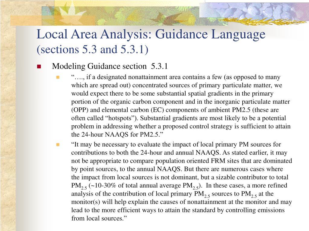Local Area Analysis: Guidance Language