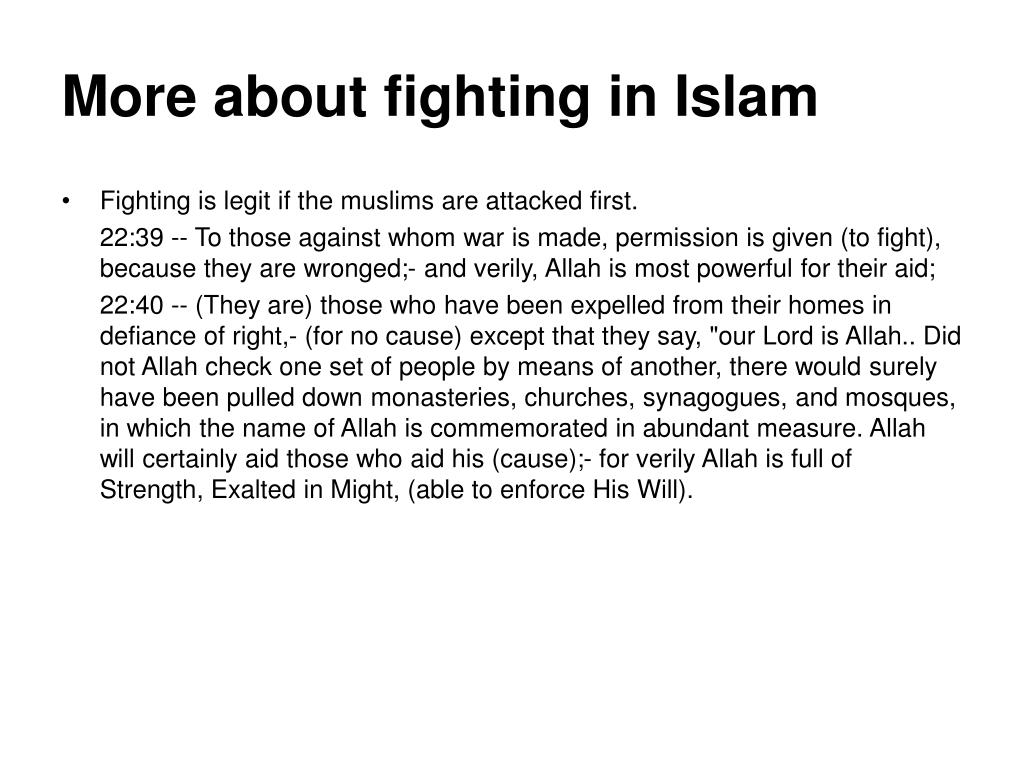 More about fighting in Islam