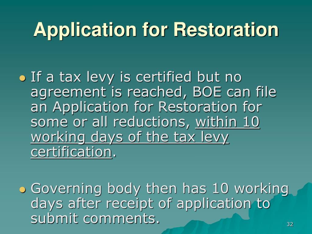 Application for Restoration