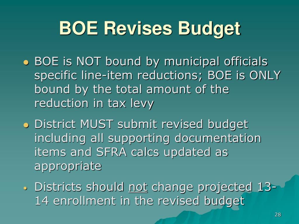 BOE Revises Budget