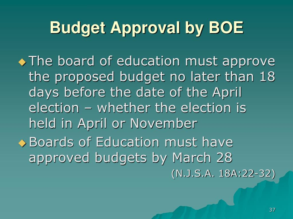 Budget Approval by BOE