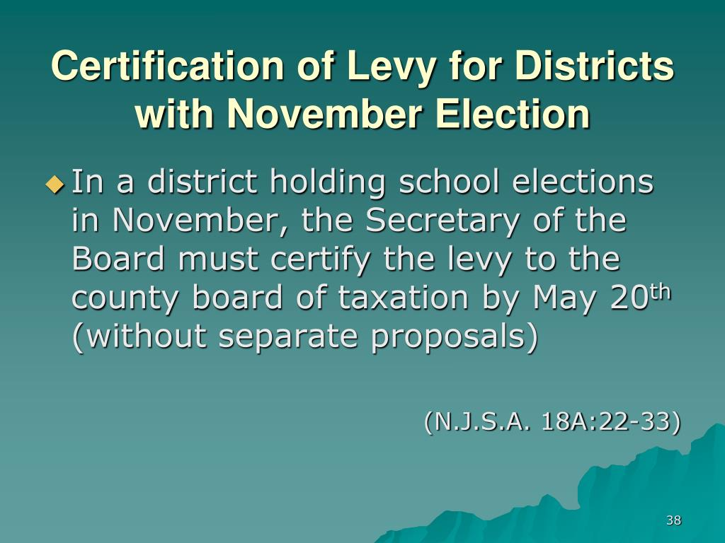 Certification of Levy for Districts with November Election