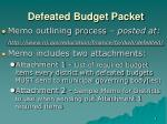 defeated budget packet