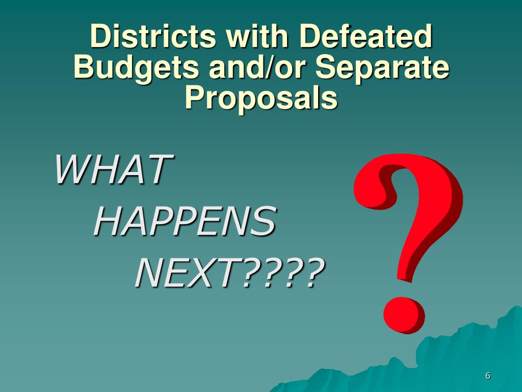 Districts with Defeated Budgets and/or Separate Proposals