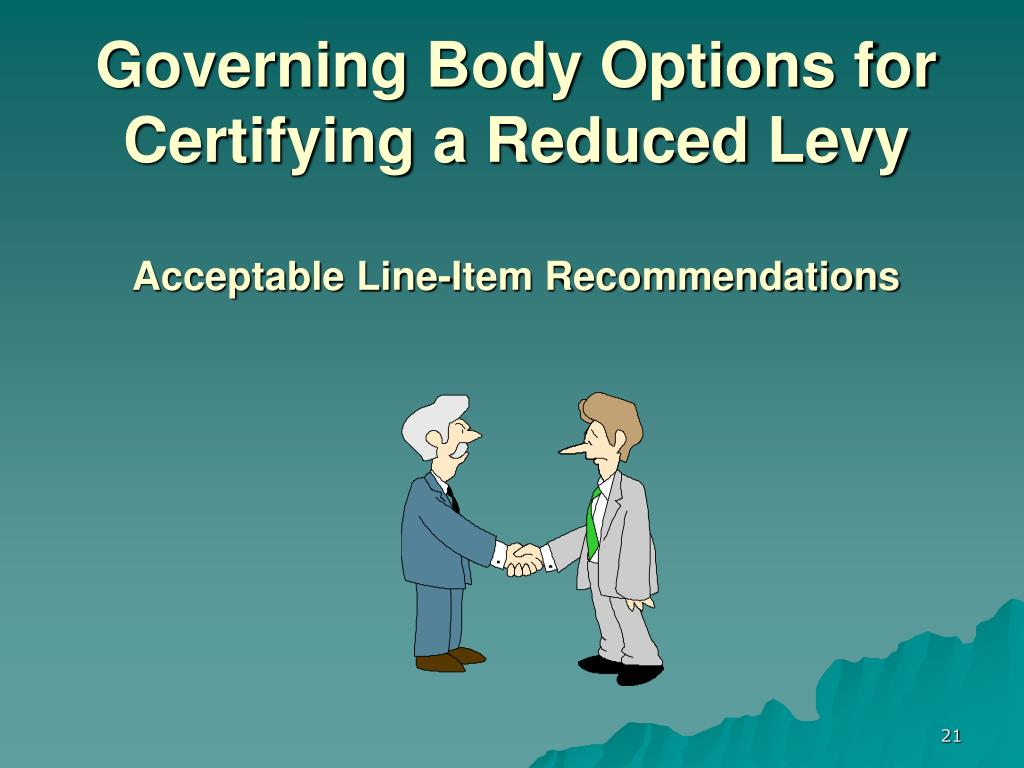 Governing Body Options for Certifying a Reduced Levy