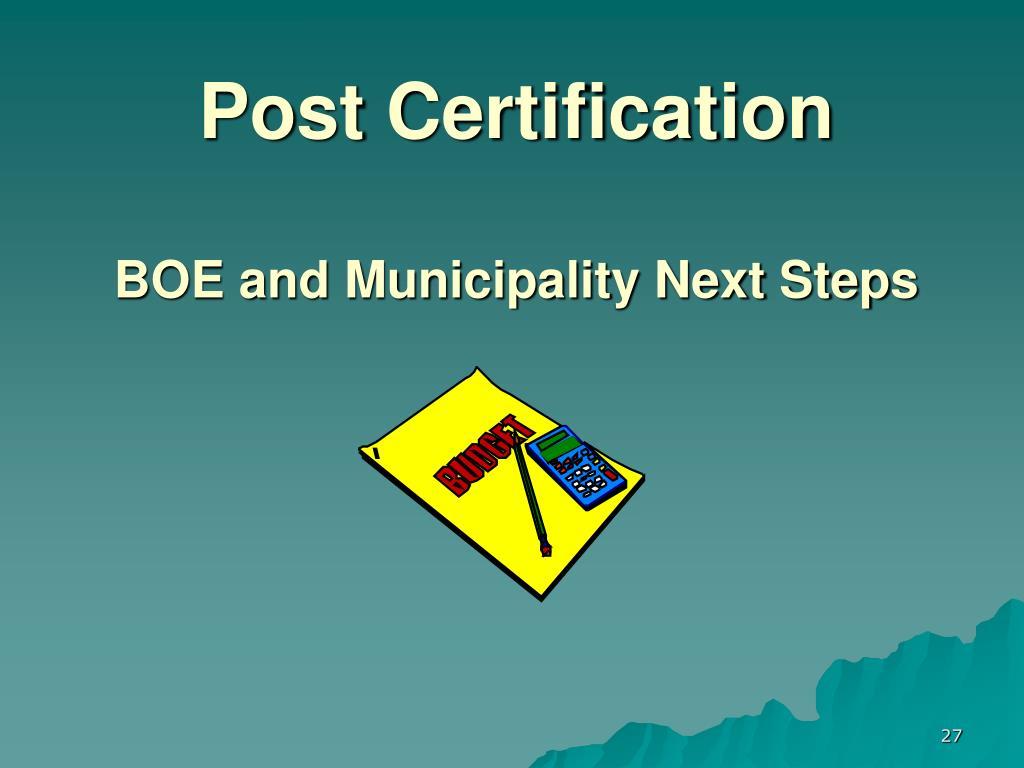 Post Certification