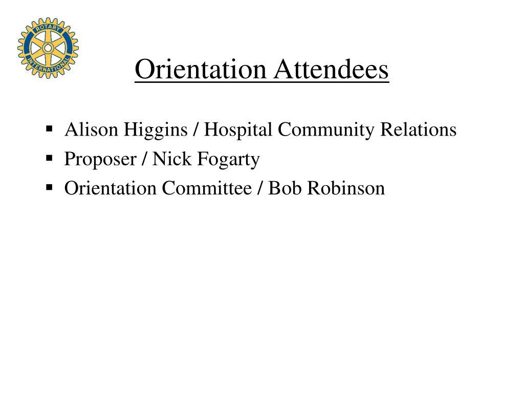 Orientation Attendees