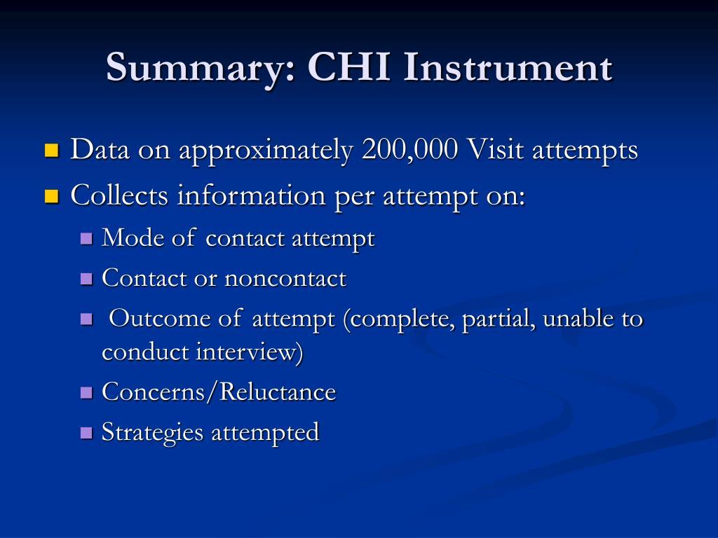Summary: CHI Instrument