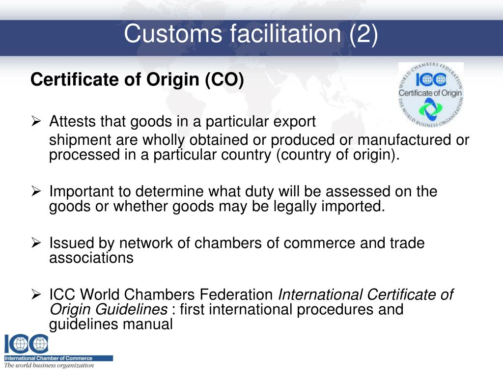 Certificate of Origin (CO)