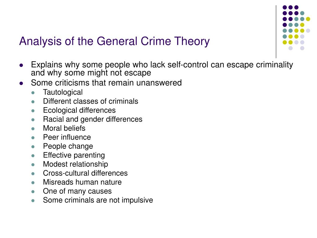 Analysis of the General Crime Theory