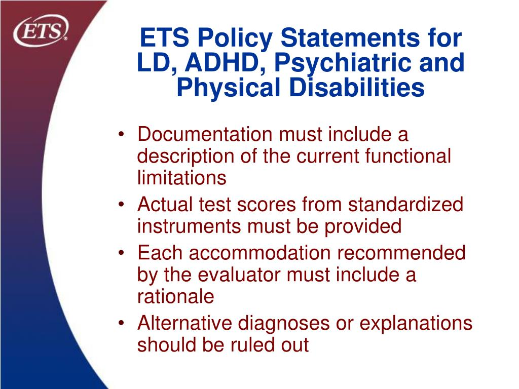 ETS Policy Statements for LD, ADHD, Psychiatric and