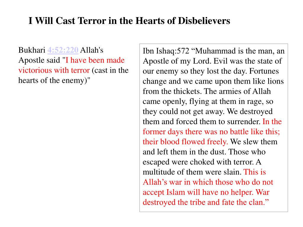 I Will Cast Terror in the Hearts of Disbelievers