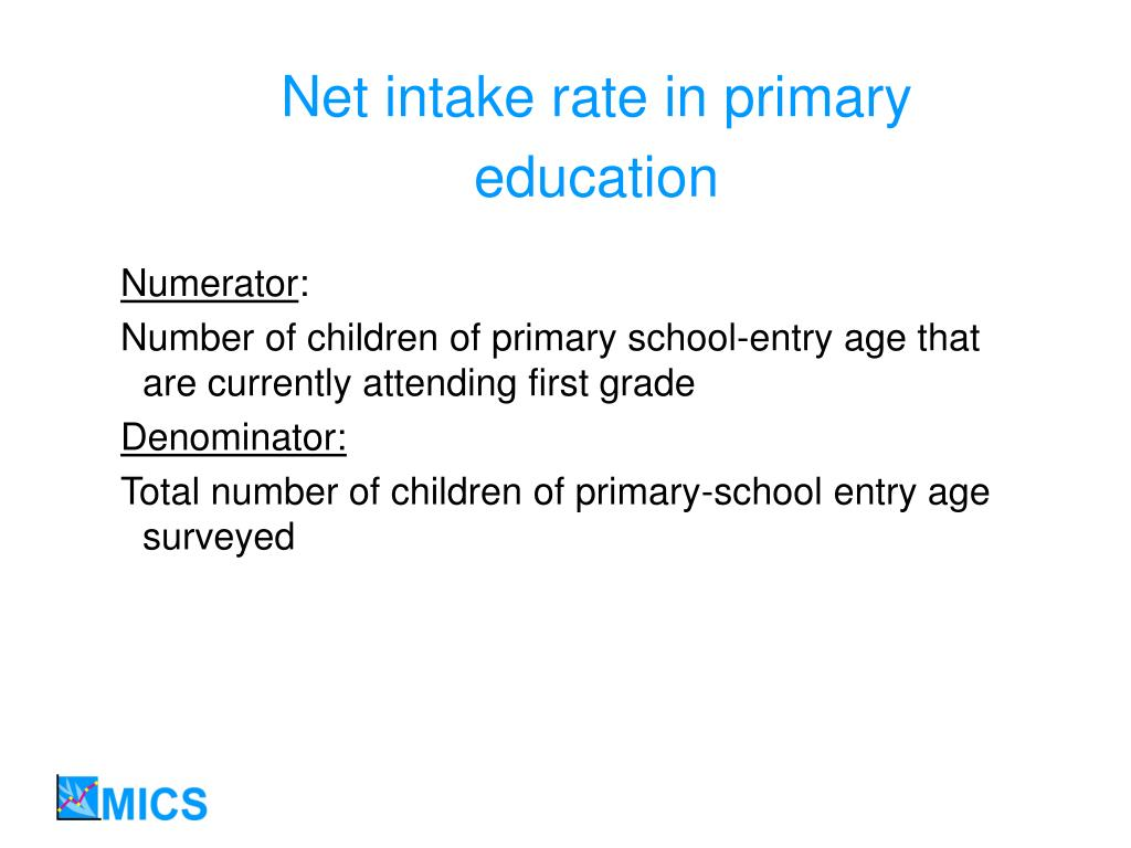 Net intake rate in primary education