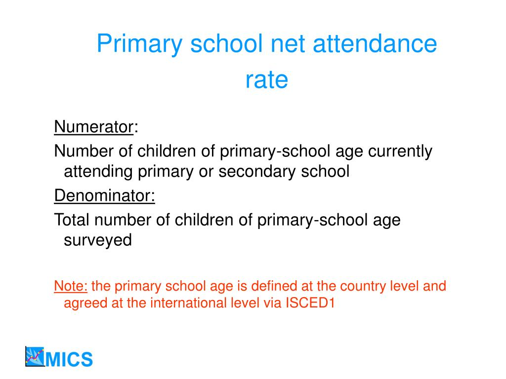 Primary school net attendance rate