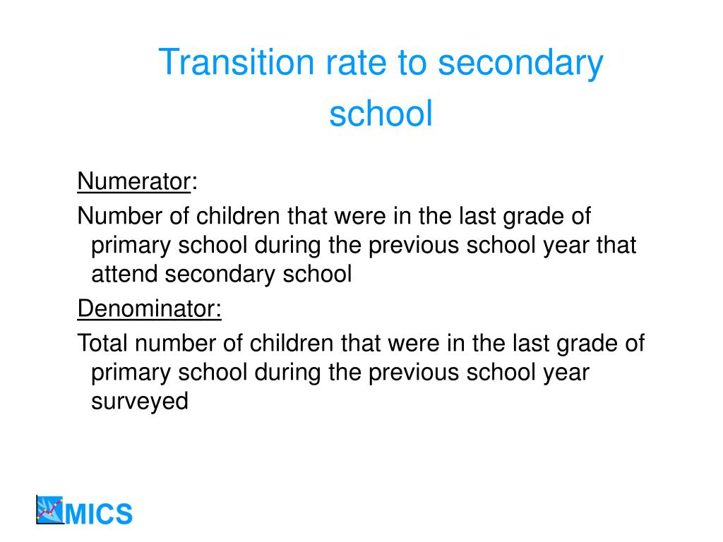 Transition rate to secondary school