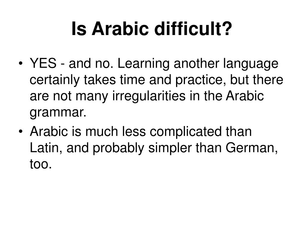 Is Arabic difficult?