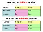 here are the definite articles