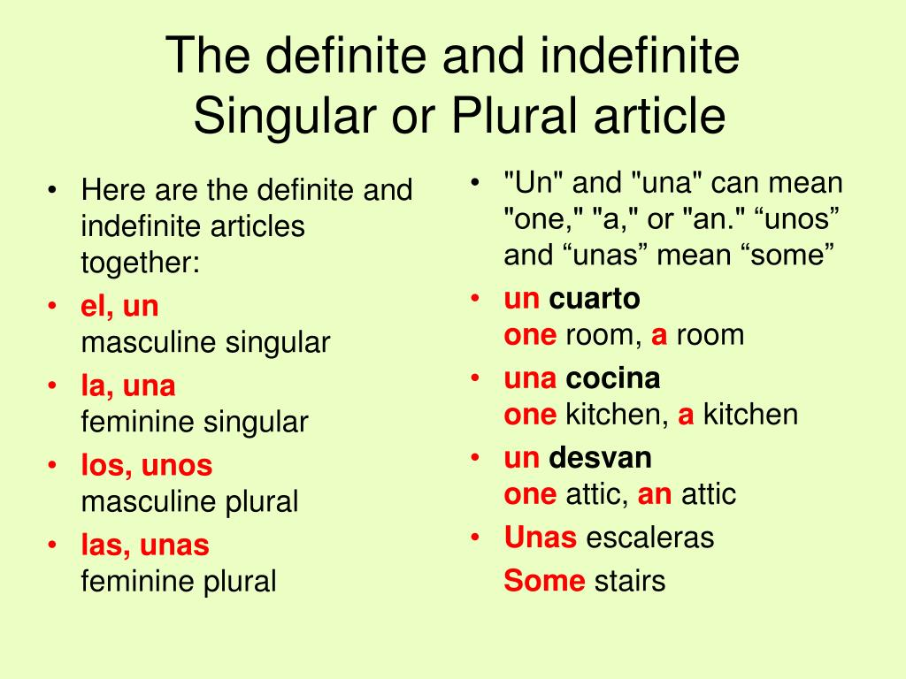 Here are the definite and indefinite articles together: