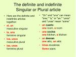 the definite and indefinite singular or plural article