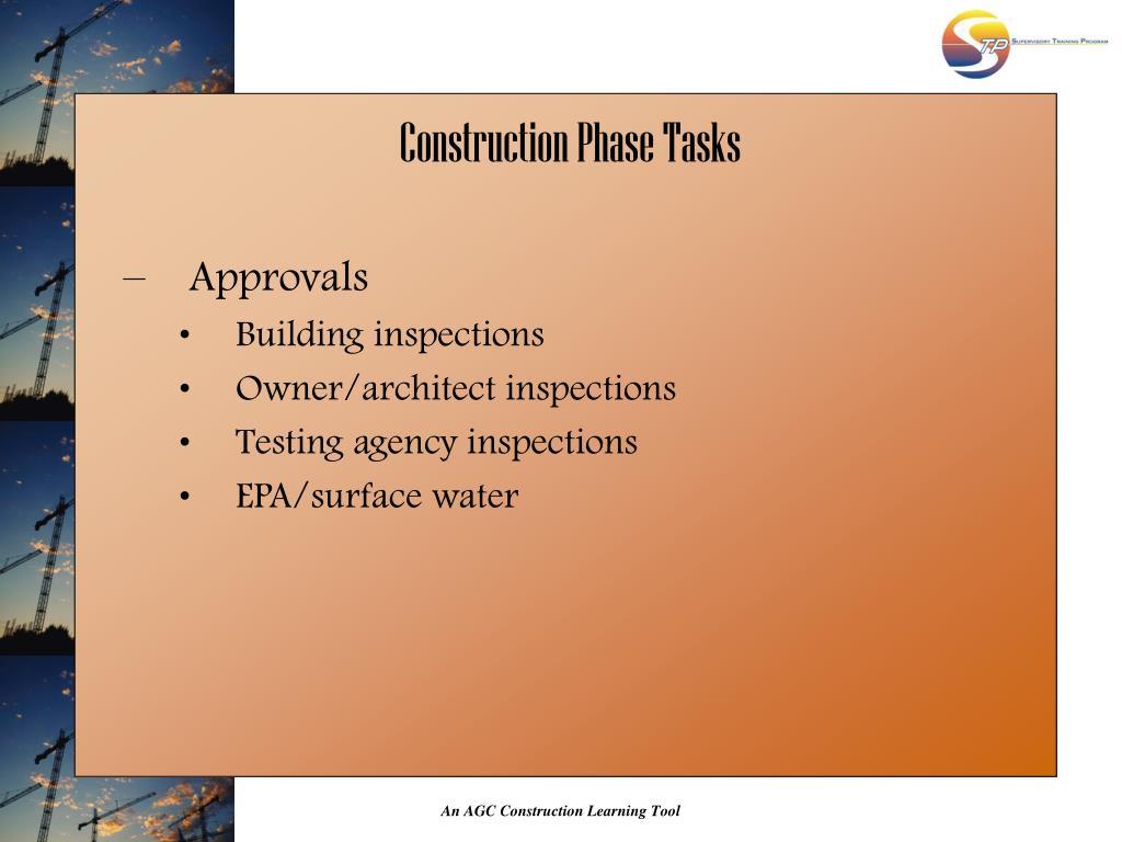 Construction Phase Tasks