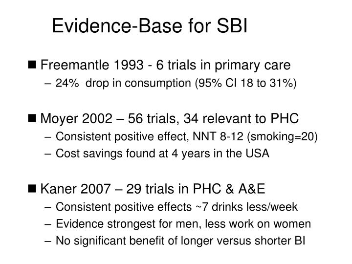 Evidence-Base for SBI