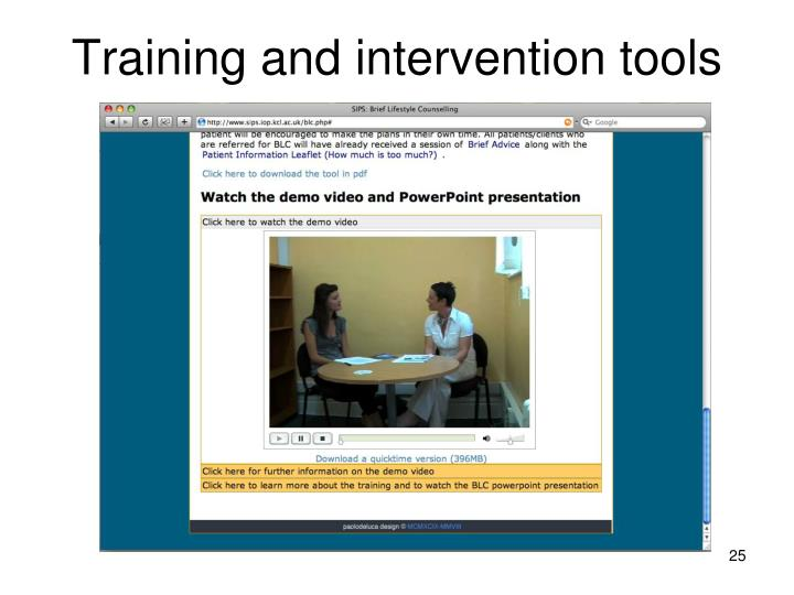 Training and intervention tools