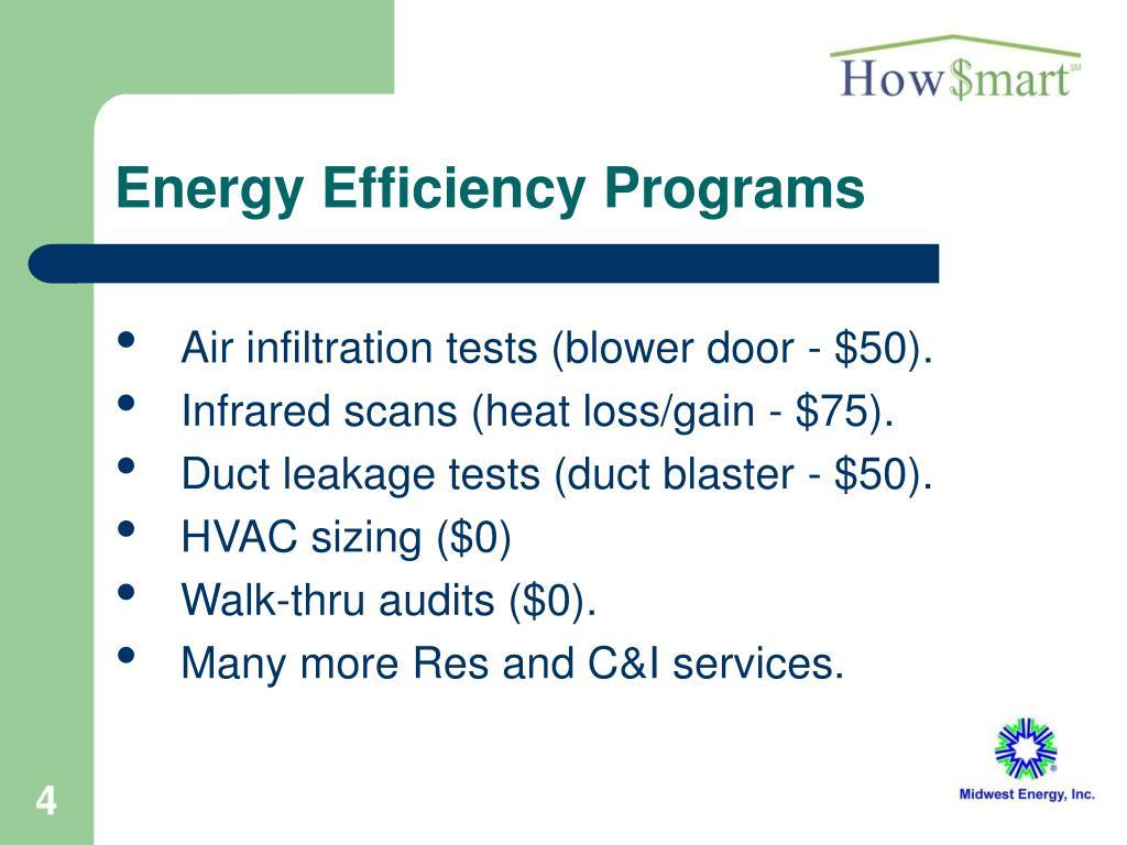 Energy Efficiency Programs